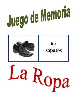 Spanish Clothing Memory Game (Can  be used for Flashcards)
