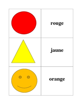 French Colors Memory Game (Can  be used for Flashcards)