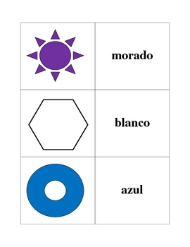 Spanish Colors Memory Game (Can be used for Flashcards)
