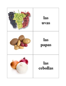 Spanish Fruit and Vegetables Memory Game (Can  be used for Flashcards)