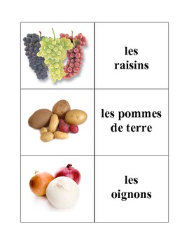 French Fruits and Vegetables Memory Game (Can  be used for Flashcards)