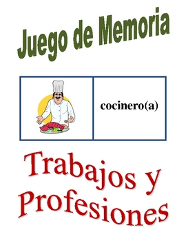 Spanish Jobs and Professions Memory Game (Can  be used for Flashcards)