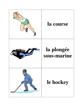 French Sports Memory Game (Can  be used for Flashcards)