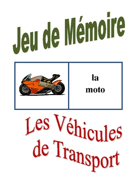 French Transportation Memory Game (Can  be used for Flashcards)