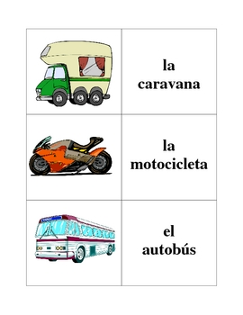 Spanish Transportation Memory Game (Can  be used for Flashcards)