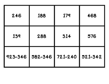 Memory Game with subtracting larger numbers