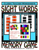 Memory Games - 100 French Sight Words (10 Levels) - Use for Home Reading Program