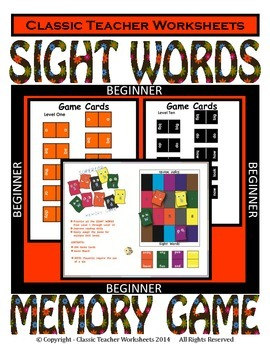 Memory Games - 100 Sight Words (10 Levels)-Beginner-Use for Home Reading Program