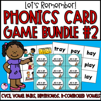 Memory Games 15 Set **BUNDLE** Long Vowels, Diphthongs, R-Controlled Vowels