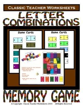 Letter Combinations Memory Game - Kindergarten to Grade 2 (2nd Grade)