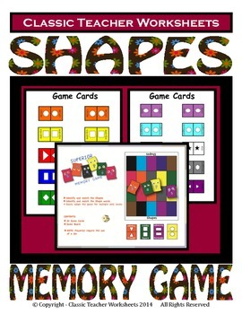 Memory Games - Shapes Matching Memory Game- Kindergarten G
