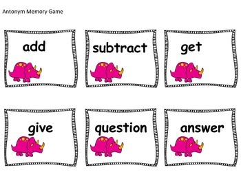 Memory Games Synonyms and Antonyms