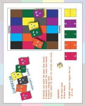 Memory Games - Vowels - Matching Memory Games