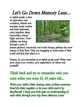 Memory Lane Open House Writing