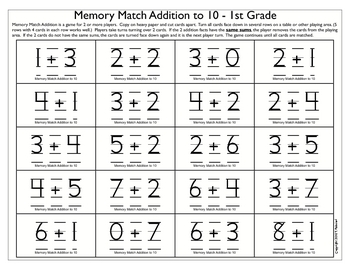 Memory Match - Addition to 10; Addition to 20