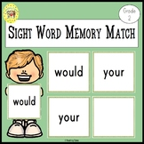 Memory Match Dolch Second Grade Sight Words Game