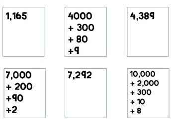 Memory Match Game:  Expanded & Standard Form Numbers