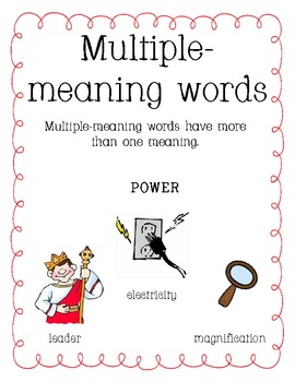 Memory Match Multiple Meaning Words