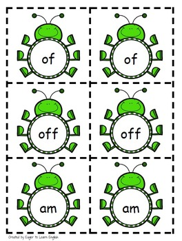 Matching Cards FREEBIE - With Visually Similar Sight Words