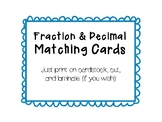 Memory Matching! Fraction Decimal Matching Cards