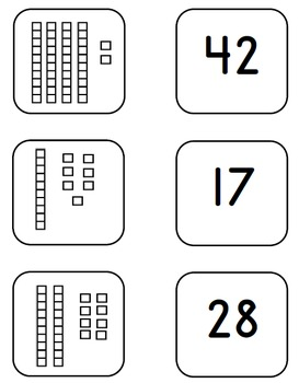 memory matching game place value base 10 blocks and cubes 18 cards by tchrgrl. Black Bedroom Furniture Sets. Home Design Ideas