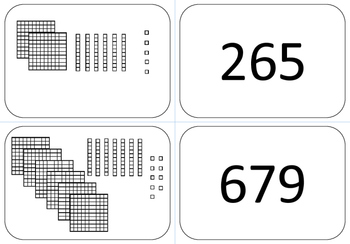 Memory Matching Game Place Value Base 10 with HUNDREDS Blocks-- 20 Cards