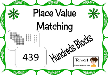 Memory Matching Game Place Value Base 10 with HUNDREDS Blo