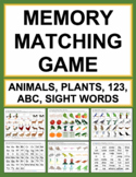Memory Matching Game   Sight Words, Alphabet, Numbers, Animals and Plants