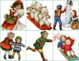 Memory Matching Game, Vintage Winter Images