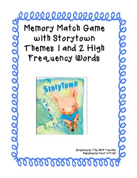 Memory Matching Game with Storytown Themes 1 and 2 High Frequency Words