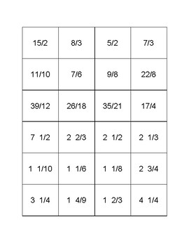 Memory - Mixed numbers to improper fractions