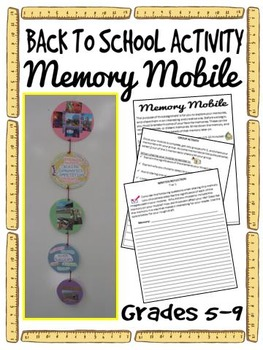 Back to School Writing Activity - Memory Mobile