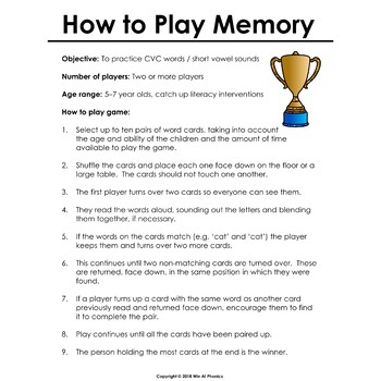 Memory: Phonics Card Game for CVC Words and Short Vowel Sound Practice
