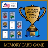 CVC Words and Short Vowel Sounds Memory Match Card Game fo