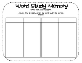 Memory Recording Sheet