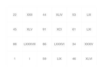 Memory - Roman Numerals  1-100