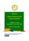 Memory - Roman Numerals - 1-20, 50, 100, 500, 1000
