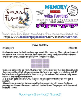 Memory (Silly Spiders) Card Game: Word Families, Phonics, Reading w/ Real Photos