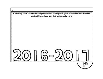End of Year Memory Tab Book
