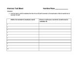 Memory Tool Sheet Vocabulary activity