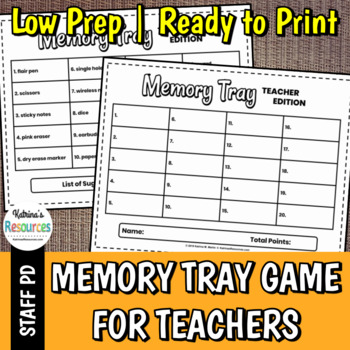 Memory Tray Game for Teachers - Great Icebreaker for PD & Faculty Meetings