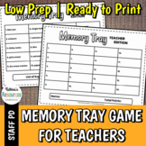 Memory Tray Game for Teachers - Great Icebreaker for PD &
