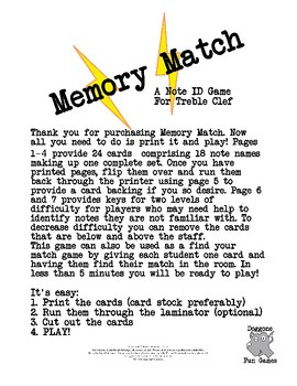 Music Centers - Memory Match Treble Clef