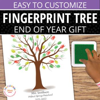 End of Year Gift: Customizable Fingerprint Memory Tree Template & Seasons Craft