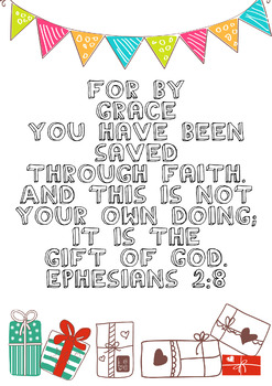 Memory Verse Coloring Page, Ephesians 2:8