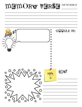 Memory Verse Doodle Sheet