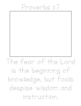 Memory Verse Tracer Page (Proverbs 1:7)