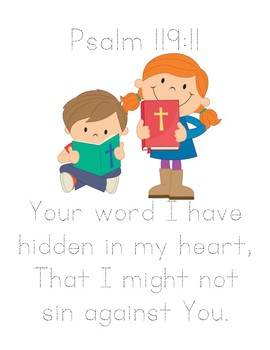 Memory Verse Tracer Page (Psalm 119:11)