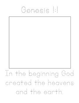 Memory Verse Tracer Pages (Genesis 1:1)