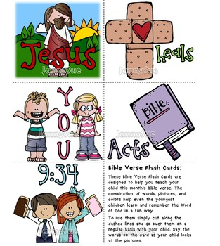 Memory Verse flash cards- Jesus heals me Acts 9:34